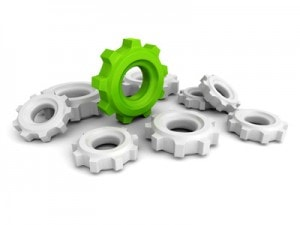 Cogwheel Gears With One Green Concept Leader