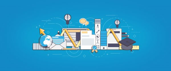 E-Learning and On-Line Degree Concept - Learning and Knowledge - Blue Version