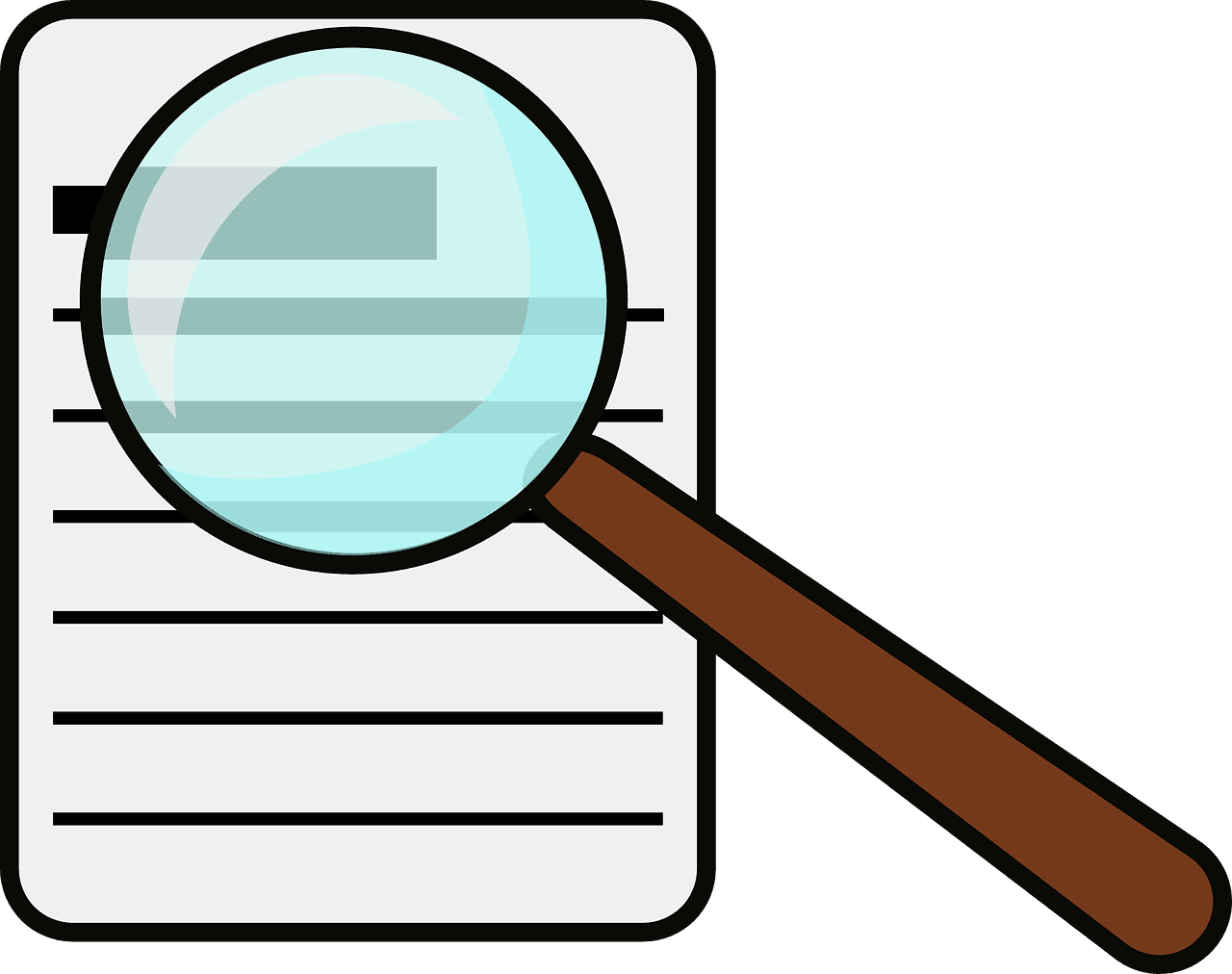 magnifying, glass, document